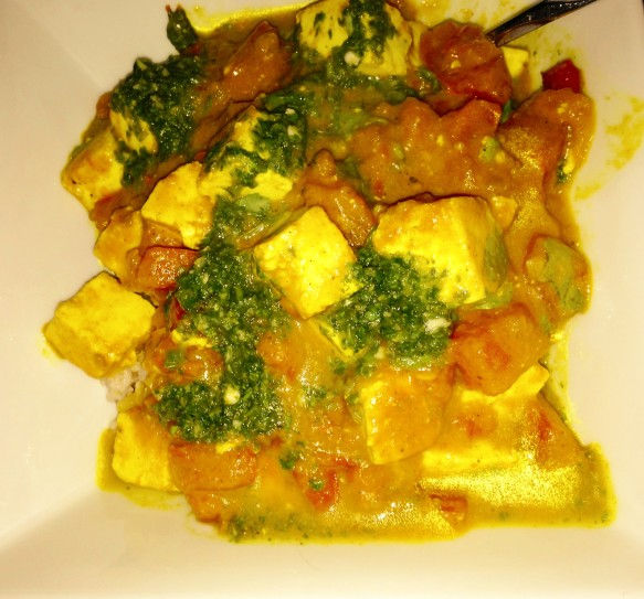 Paneer in Curried Tomato Gravy, Cilantro Mint Chutney