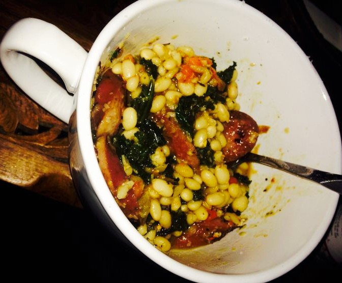 Stewed White Beans with Kale and Kielbasa